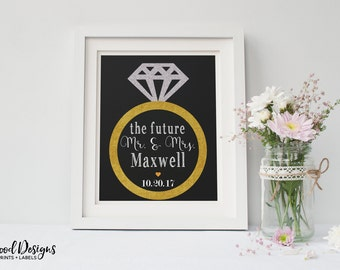 Future Mr. and Mrs. Customized Printable. Engagement Party Decorations. Instant Download. Diamond Ring Printable. Wedding Sign. Engaged.