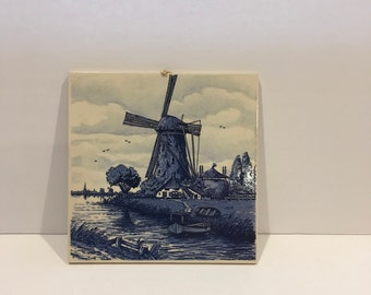 Vintage Delft Blue Trivet , Hot Plate , Dutch , Windmill , Wall Square , Wall Decor , Hand Painted  , Holland ,