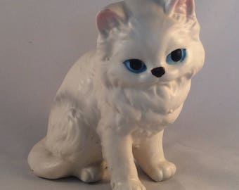 Vintage White Fluffy Cat Figurine with Blue Eyes and Pink Ears