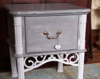 Vintage End Table updated in Gray and White Chalkpaint - Metal Legs