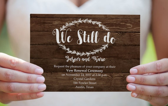 Wedding Vow Renewal Invitation. Rustic Wood Vow Invite. DIY