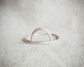 Sterling silver ring, half circle ring, halfmoon ring, silver jewelry, geometric jewelry, line ring, minimalist jewelry, minimalist ring