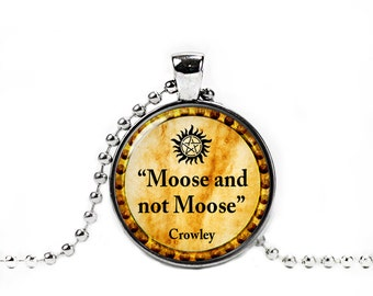 Supernatural Necklace Moose and not Moose Crowley Pendant Supernatural Jewelry Photo Glass Pendant