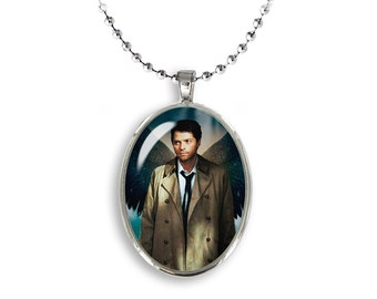 Castiel Oval Pendant Supernatural Necklace Misha Collins Fandom Jewelry Cosplay Fangirl Fanboy
