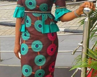 Cold Shoulder Ankara Straight Gown
