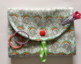 Hair clip pouch storage Barrettes gift elephant