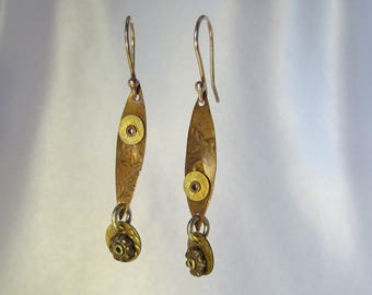 Item 4200-10 Handcrafted Sterling, Copper & Brass Textured Lightweight Dangle Earrings