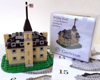 Willis Hall - Custom Designed Building Kit - Carleton College - 218 Pieces - Historic Building Kit - College Graduation Gift