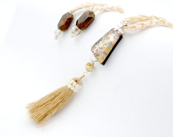 Tassel pendant, Bohemian cord choker, long adjustable hypoallergenic dog collar, layered crocheted statement gold asymetrical beige necklace