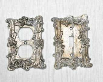 Set of 2 Vintage AmerTac Solid Metal Light Switch Plate Covers Rose Floral Outlet Cover Shabby Chic Switchplate Rustic
