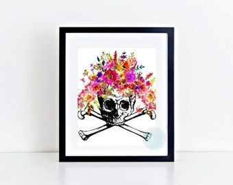 PRINTABLE Digital Print Skull Art Print Watercolor Skull Art Human Skull Print Floral Skull Print Watercolor Poster Skull Decor Skull Decor
