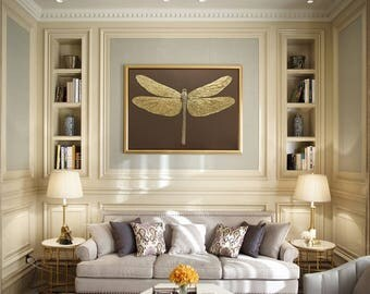 Dragonfly Painting Gold Dragonfly Swarovski Gold  Painting Wall Art Decorative Painting Original Painting Wall Decor by Julia Kotenko