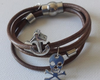 Leather nautical anchor bracelet  silver tone anchor and beads and pirate charm magnetic clasp
