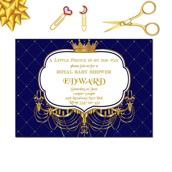 royal baby shower invitation little prince baby shower invitation