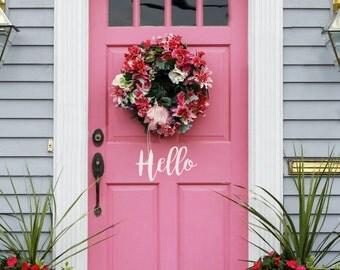 Hello Vinyl Door Decal, Welcome Decal