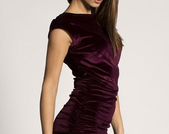 Burgundy Velvet Dress With Frill