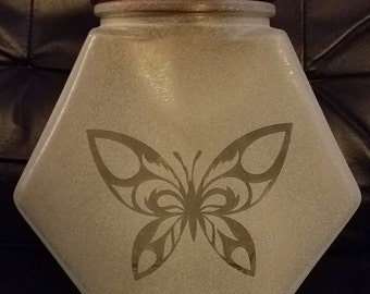 Glass Butterfly Jar w/lid