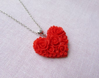 Heart necklace red rose Heart pendant Polymer clay gift ideas Red heart necklace Jewelry handmade necklace
