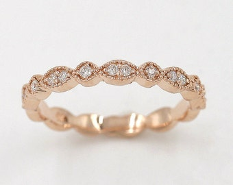 Art Deco Diamond Wedding Band.Rose Gold Wedding Ring.14K Solid Gold  Matching Band