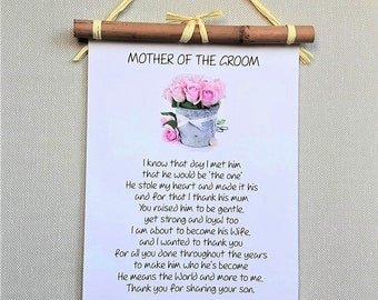 Mother of the Groom Wedding Gift, Mother in Law gift, Thank You Mother of Groom Gift from Bride, Custom Wedding Poem, from daughter in law