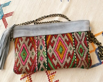 Kilim and suede clutch bag - handmade