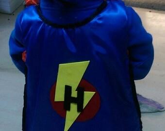 Personalized Lightning/Circle Childrens Cape, super hero cape, kid cape, superhero costume, boys cape, girls cape, birthday gift, felt decal