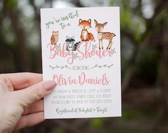 Woodland Baby Shower Invitation Girl, Woodland Invitation, Fox Baby Animals,  Baby Shower Invitations