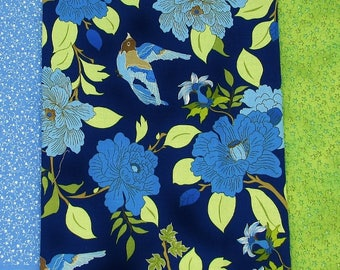 Blue Birds and Camellias print Robert Kaufman The Good Life, blue & green blenders,cotton fabric stash remnants, craft fabric, quilt bundle