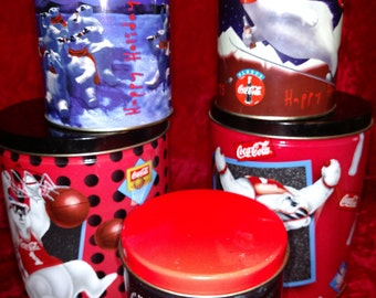 1995 Coca Cola Polar Bear canisters//Happy Holidays Cans//Coca Cola containers//Coke Holiday Collection//Christmas decor