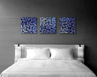 Modern Art Blue Wall Decor Bedroom Set Of 3 Wall Art Blue Bedroom Painting  Silver Leaves