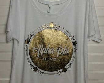 Alpha Phi 130 Sorority Bella + Canvas Tee in White or Black with Metallic Disc & Accent Circle Design in Gold or Silver