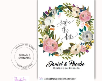 Save the Date Invitation Template Card, Floral Wreath, Editable PDF, boho, roses, engagement, wedding, instant download, DIY rustic wedding