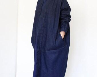 Oversized Denim Jacket, Loose Fit Jacket, Denim Trench, Plus Size Denim Jacket, Long Jacket, Jean Jacket, Denim Kimono, Oversized Parka