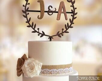 Rustic Cake Topper. Initial cake topper. Monogram cake topper. Gold monogram cake topper. Letter cake topper. Monogram cake topper wedding.