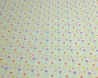 Hearts on Yellow Cotton Fabric