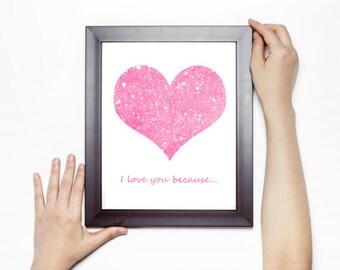 Heart print, Digital art, I love you because, Love art, Illustration art, Pink glitter, Anniversary card, Modern office wall decor