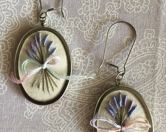 Embroidery Lavender Bundle Earrings