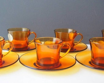 Vintage French Amber Glass Coffee Cups and Saucers, 6 Duralex Espresso Cups, Made in France, Glassware, Drink ware, Birthday Gift, Gift Idea