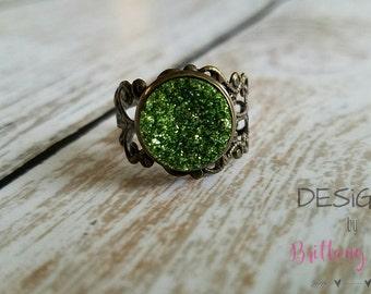 Emerald Druzy Filigree Ring