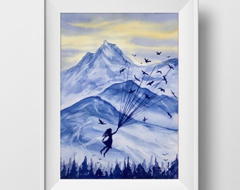 Watercolor Art Print, Up With The Birds, Painting, Illustration, Wall Art, Gift, Home Decor