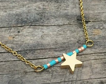 Celestial Gold Star pendant necklace