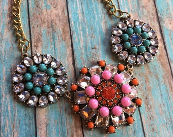 Southwest Boho Statement Necklace, Blue, Red and Pink, Rhinestone Necklace, Southwest Jewelry, Boho Jewelry, Boho Necklace