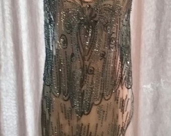 1920s Blue Sequined Net Overdress