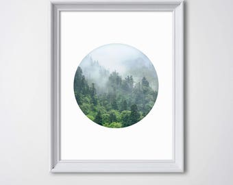 Forest Poster • Forest Art Tree Art Tree Wall Art Forest Photography Green Art Green Forest Print Wood Print Foggy Forest Home Decor Modern