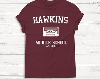 Hawkins Stranger Things Shirt - Funny - Cute - Tee Shirt - Sweatshirt - Men Women - Humor Text Hipster Gift Present Graphic Tee Unisex