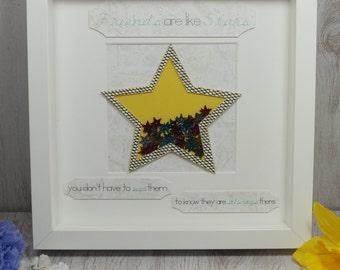 Customised Friends Are Like Stars Framed Gift, Birthday, Wedding, Christmas Gift