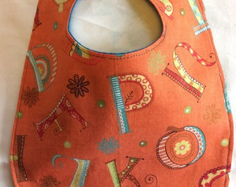 SALE*~Alphabet in Orange Baby and Toddler Drool Bibs