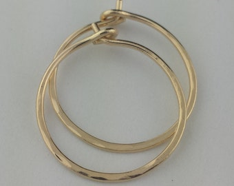 """Small 18k Gold Hoop Earrings, 5/8"""" to 1"""" Solid 18k Gold Hoop Earrings, 20 Gauge 18k Hoops, Solid Gold Hoops, Hoop Earrings, Round Hoops"""