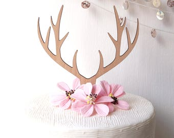 Antlers topper, wedding cake topper, deer antlers topper, rustic wooden cake topper, woodland wedding decoration, your choice of wood