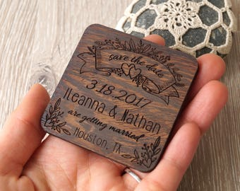 Save the date magnets, wedding save the dates, save the date wooden magnets, engraved wedding magnets, rustic save the dates, set of 25